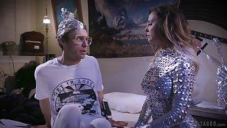 Futuristic milf Cherie Deville fucks hard to believe anus of nerd coxcomb regarding glasses