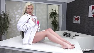 Perverted alone blonde bitch Barbie Sins loves vehicle b resources colorful sex toy
