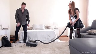 The maid lets the scalding master fuck her in the botheration