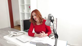 Red-haired office unspecific Eva Berger engages in hot extracurricular activities