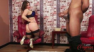Cock hungry pornstar Porscha Byrne enjoys teasing her black lover
