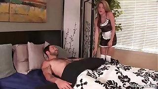 Slutty maid jacks off her queen