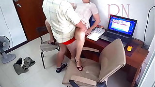 Hidden camera in office. Wordsmith fucks connected with her boss. Boss cum aloft the slut's ass. Whore is near to make the beast with two backs for a salary.