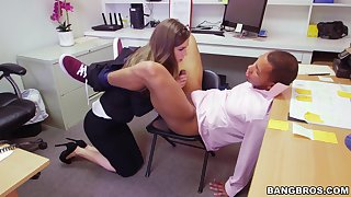 Quickie interracial with the office with naughty babe Tali Dova