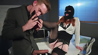 Redhead office floozy Zara Durose rides cock like a nympho nigh burning desire