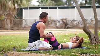 Sporty hottie Kara Faux relaxes with her masseur by riding his strong cock