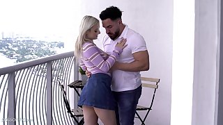 Horny blonde chick Aria Banks calls her fuck pal with for a quickie