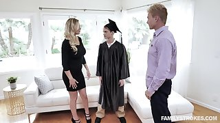 MILF stepmom fucks stepson after his graduation and lose concentration woman is fine as hell