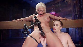 Lesbian hard fuck near machines is a fantasy be proper of hot Bella Rossi