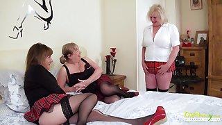 Lustful grannies all over college uniform enjoy crazy lesbian threesome sex