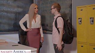 Horny nerdy MILFie tutor Nina Elle fucks well nigh their way student on the desk